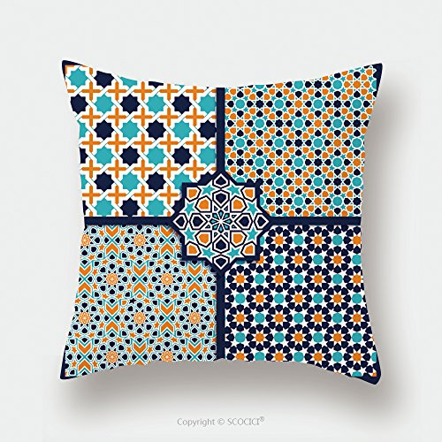 Custom Satin Pillowcase Protector Seamless Islamic Patterns Set In Color Vector Geometrical Texture 288949067 Pillow Case Covers Decorative by chaoran