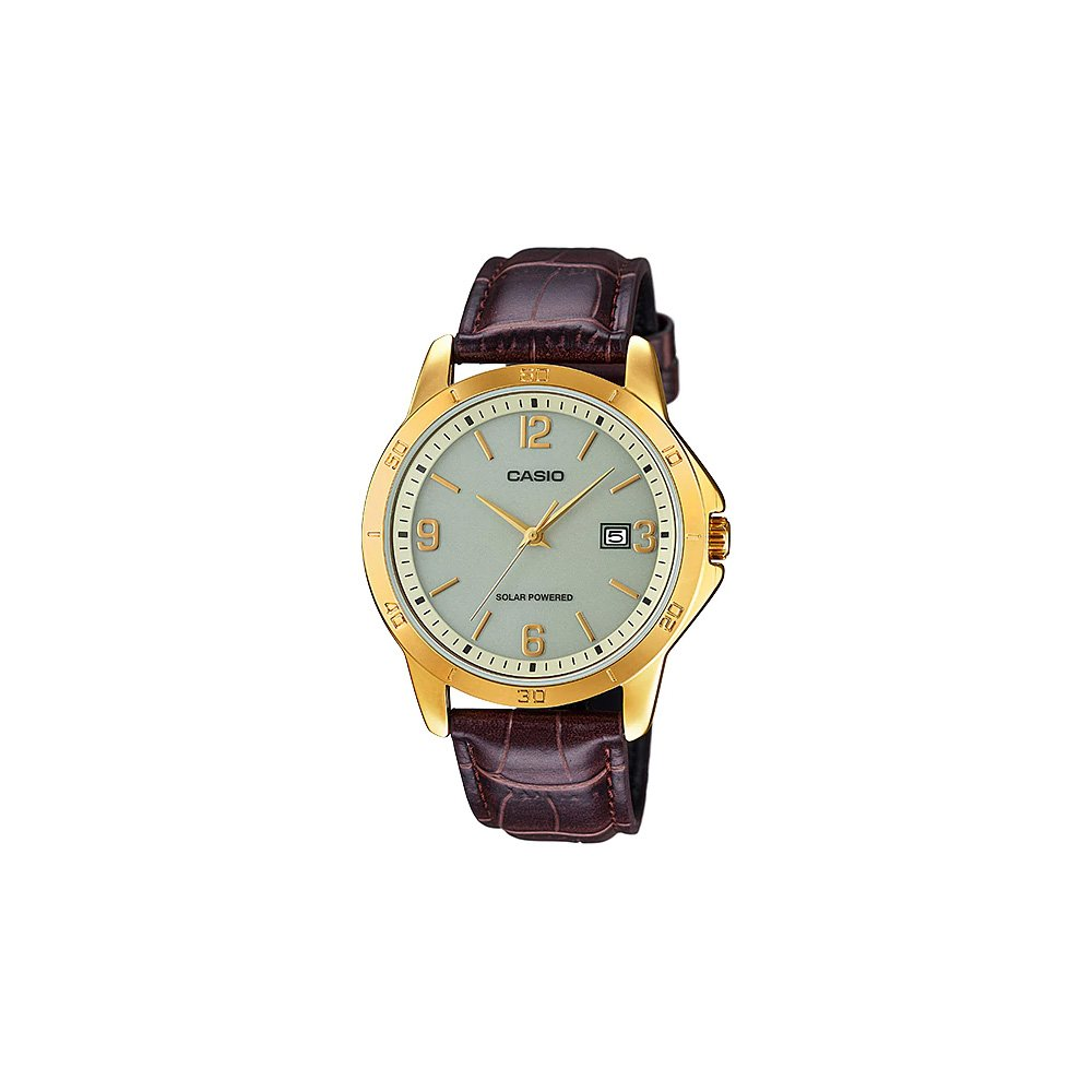 Casio Mtp Vs02gl 9a Mens Standard Gold Tone Solar Men Watch V002l 1a Black Leather Band Dial Date Watches