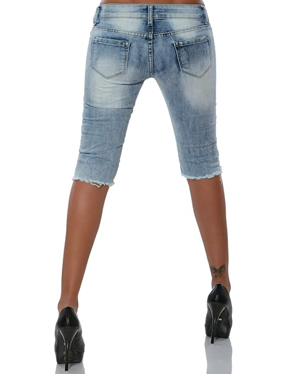 Damen Jeans Capri-Hose Sommerhose Bermuda Shorts Kurze Hose No 15683,  Farbe:Blau;Größe:36 / S: Amazon.de: Bekleidung
