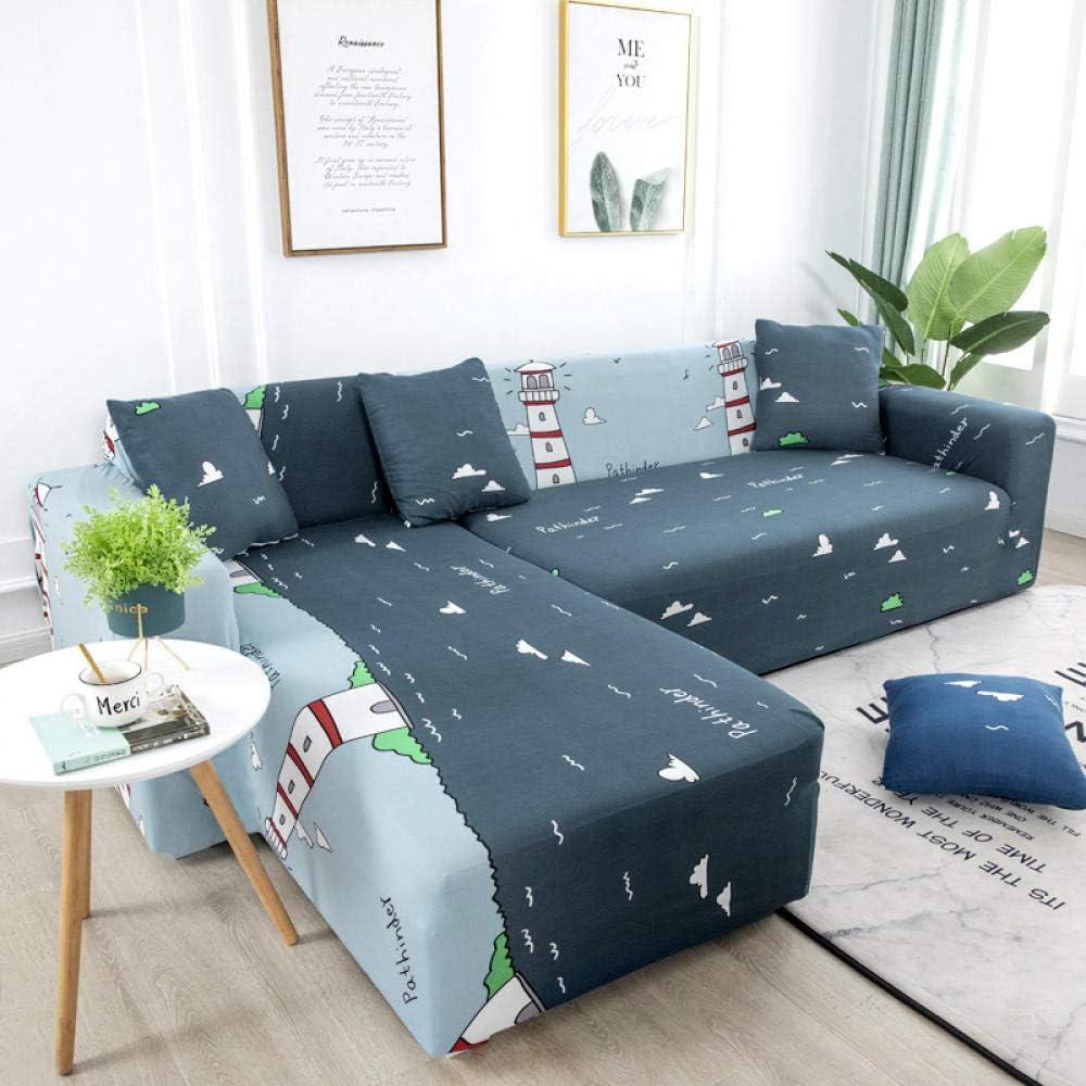 BSZHCT Funda Elástica de Sofá Faro de Dibujos Animados Funda Estampada para sofá Gris Azulado 1 Plazas Antideslizante Protector Cubierta de Muebles Cubierta de sofá seccional (90-140cm)