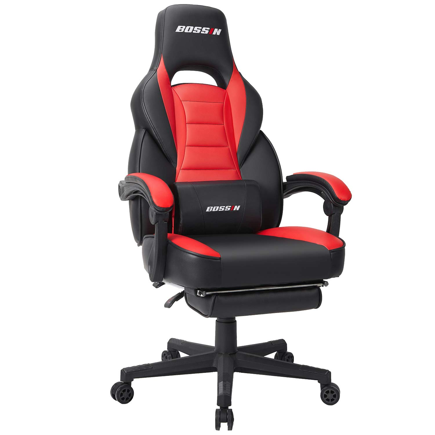BOSSIN Gaming Chair High Back Racing Chair, Ergonomic Swivel Computer Chair Executive Leather Desk Chair with Footrest, Bucket Seat and Lumbar Support (Red)