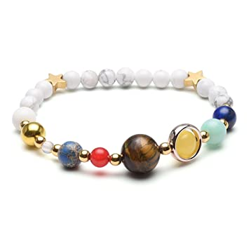 JSDDE Solar System Lava Beads Bracelet, Universe Galaxy The Nine Planets Guardian Star Crystal Stone Elastic Stretch Bracelets