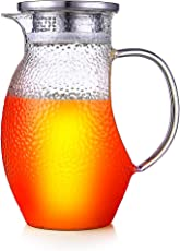 Glass Pitcher 44OZ with Stainless Steel Filter Top-Borosilicate Glass Carafes with handle&Strainer-Tea Pitcher for Ice Water, Beverage, Drinks DHTUSKJHL8420