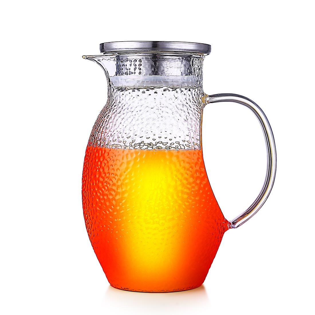 ONEISALL 44OZ Glass Pitcher with Lid,Borosilicate Glass Jug Carafe with Stainless Steel Infuser for Ice Tea, Juice, Cold Brew, Cold/Hot Water, ect.