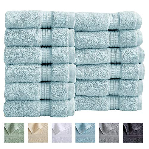 12-Pack Washcloth Set. 100% Cotton Absorbent Quick-Dry Plush Washcloth Towels. Wash Cloths for Bathrooms. Cooper Collection. (Washcloths, Spa Blue)