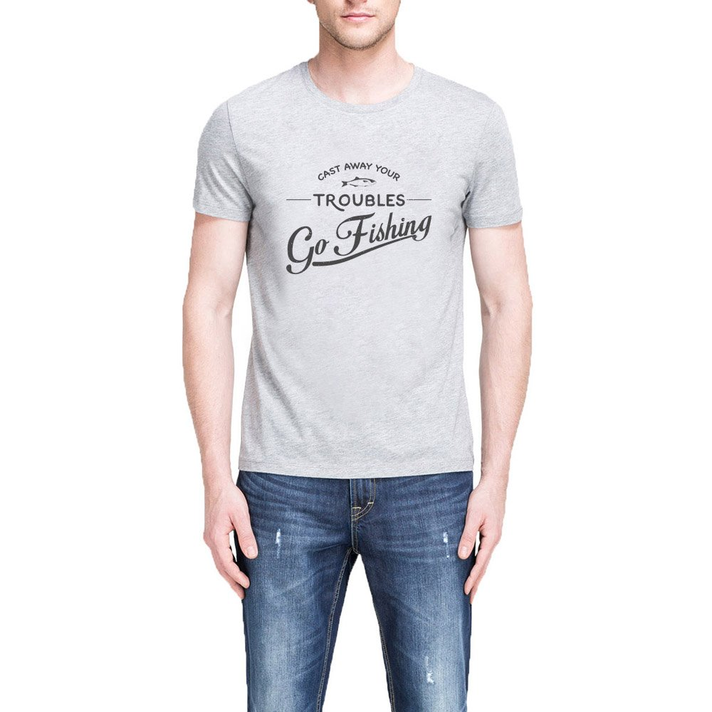 Loo Show Cast Away Your Troubles Go Fishing Grey T Shirt Casual Tee