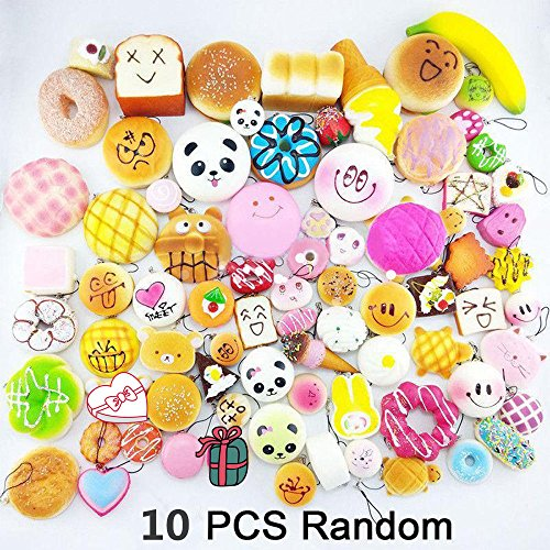 Don't Eat!!! Mostsola 10Pcs Random Kawaii Mini Soft Squishy Foods Panda Bread Bun Toasts Multi Donuts Phone Straps Charm Kids Toy Gift