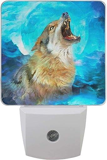 Katrine Store 2 Pack Pintura al óleo Lobo Colorido Espacio Galaxy Impresión Luz nocturna Anochecer al amanecer Sensor Enchufe Luz de pared: Amazon.es: Iluminación