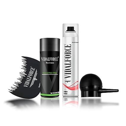 VidalForce Starter Kit Fibras cabello 27,5g + Fijador + Bomba + Optimizador/Castaño