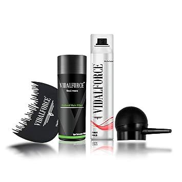 VidalForce Starter Kit Fibras cabello 27,5g + Fijador + Bomba + Optimizador/Castaño Medio /: Amazon.es: Belleza