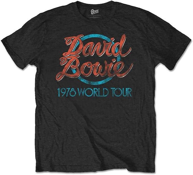TALLA S. David Bowie Camiseta 78 Tour (Negro)