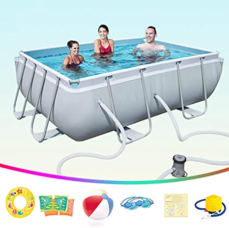 Metal Frame Pool Rectangle Frame Above Ground Pool Removable And Easy Set Up Family Supported Swimming Pool Suitable For Terrace Garden Outdoor Amazon Ca Home Kitchen