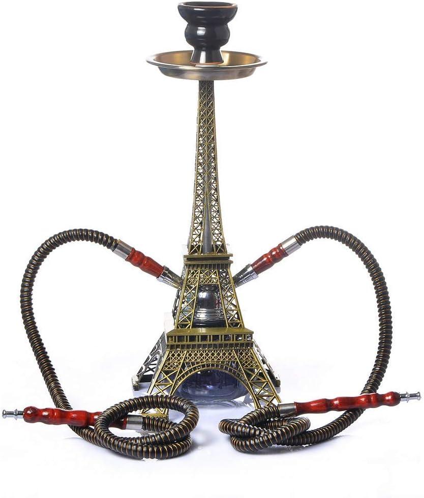 Shisha Hookah Set, Aiffel Tower Form Pipe Smoking Set con tazón de cerámica Coal Clamp Manguera Conector, Party Smoking Set (sin nicotina), Gold, 40 * 15.2CM