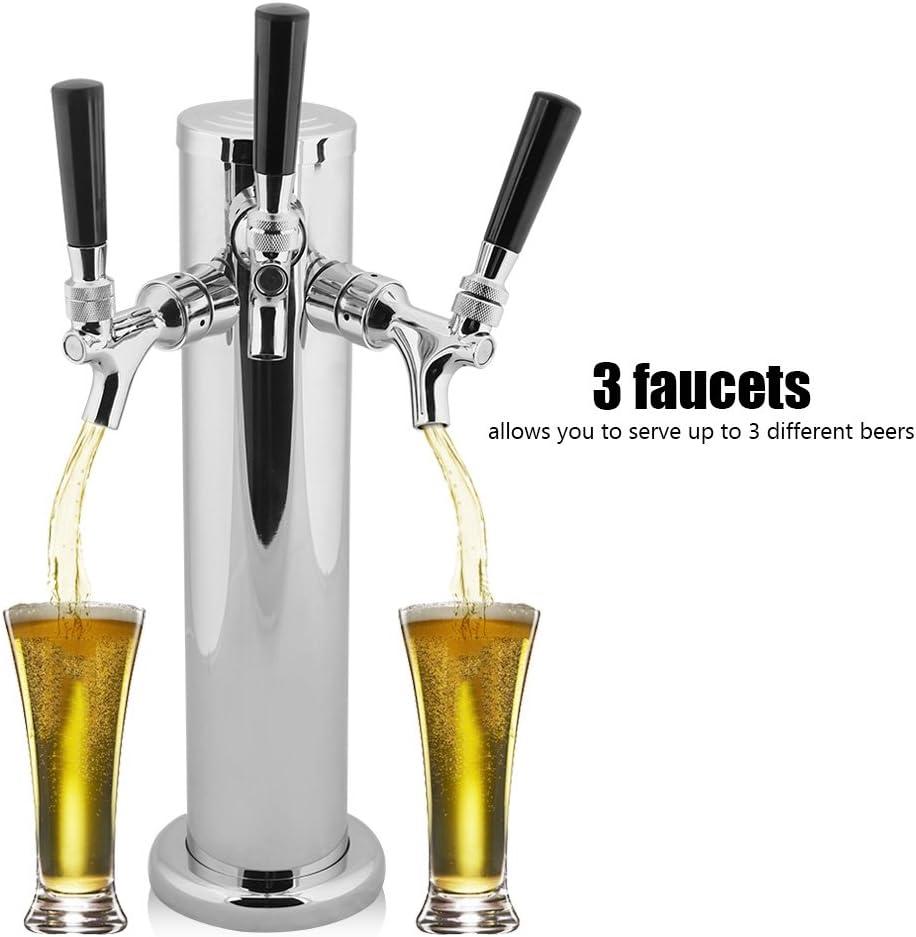 Dispensador de Cerveza,Dispensador de Cerveza de Barril de Tres Grifos de Acero Inoxidable Para Bar Home Brew Kegerator