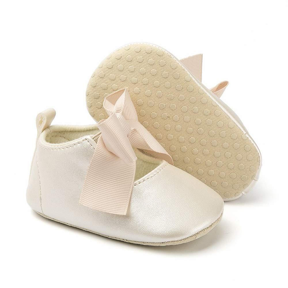 Baby Girls Mary Jane Flats Bowknot Princess Shoes Soft Sole Toddler No-Slip Shoes Christening Baptism Crib Shoes