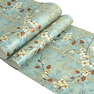 Country Vintage Floral Pattern Self Adhesive Contact Paper Non-Woven Peel and Stick Wallpaper for Living Room Bedroom Wall Art Deco 20.83 Inches By 9.8 Feet