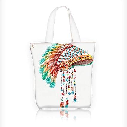 Canvas Tote Bag Tribal Chief Headdress with s and Beads Arrow Print Orange  Blue Zipper Closure b72e0aff870c6