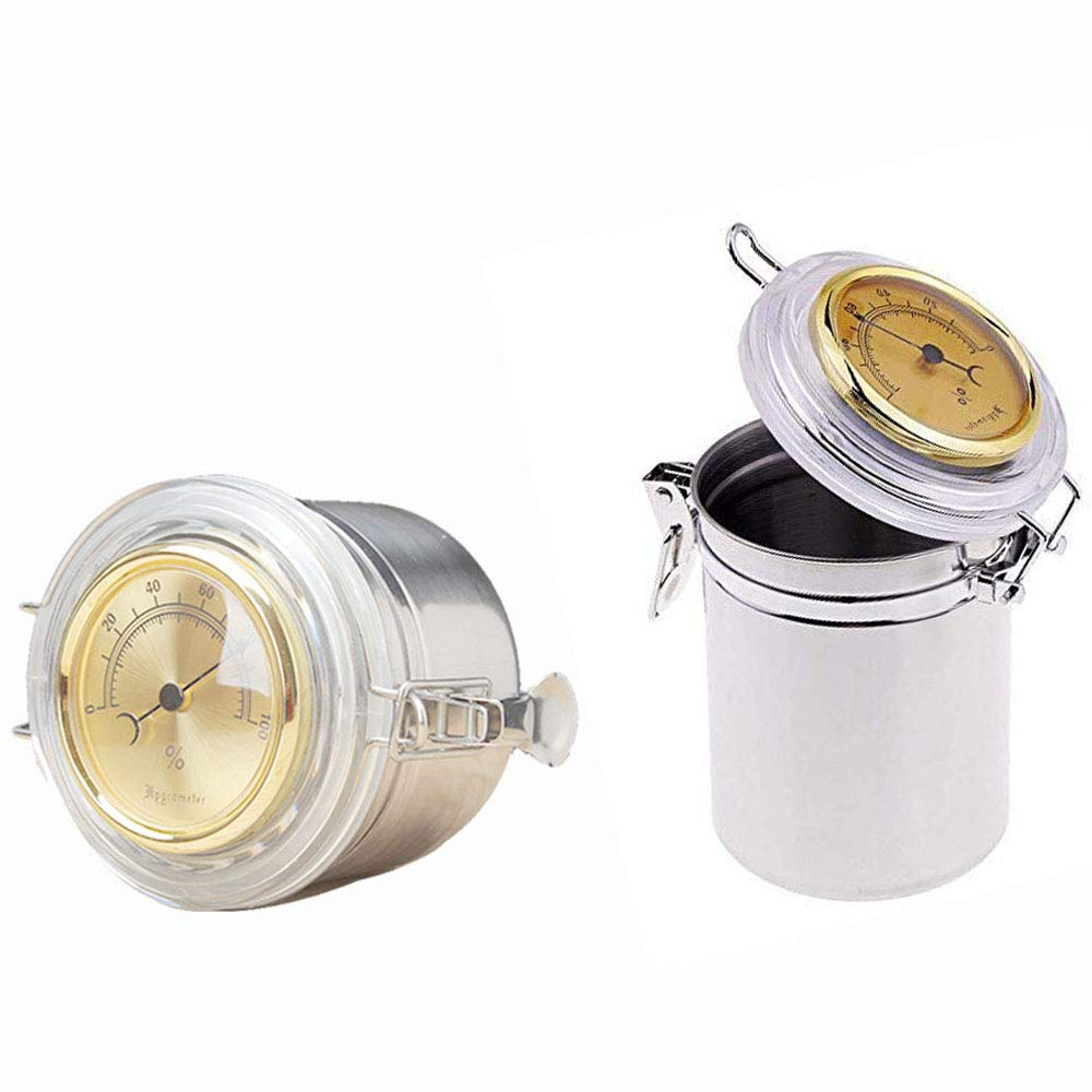 4X3.8in Aluminum Stash Jar With Hygrometer,Food Storage Container with Lids