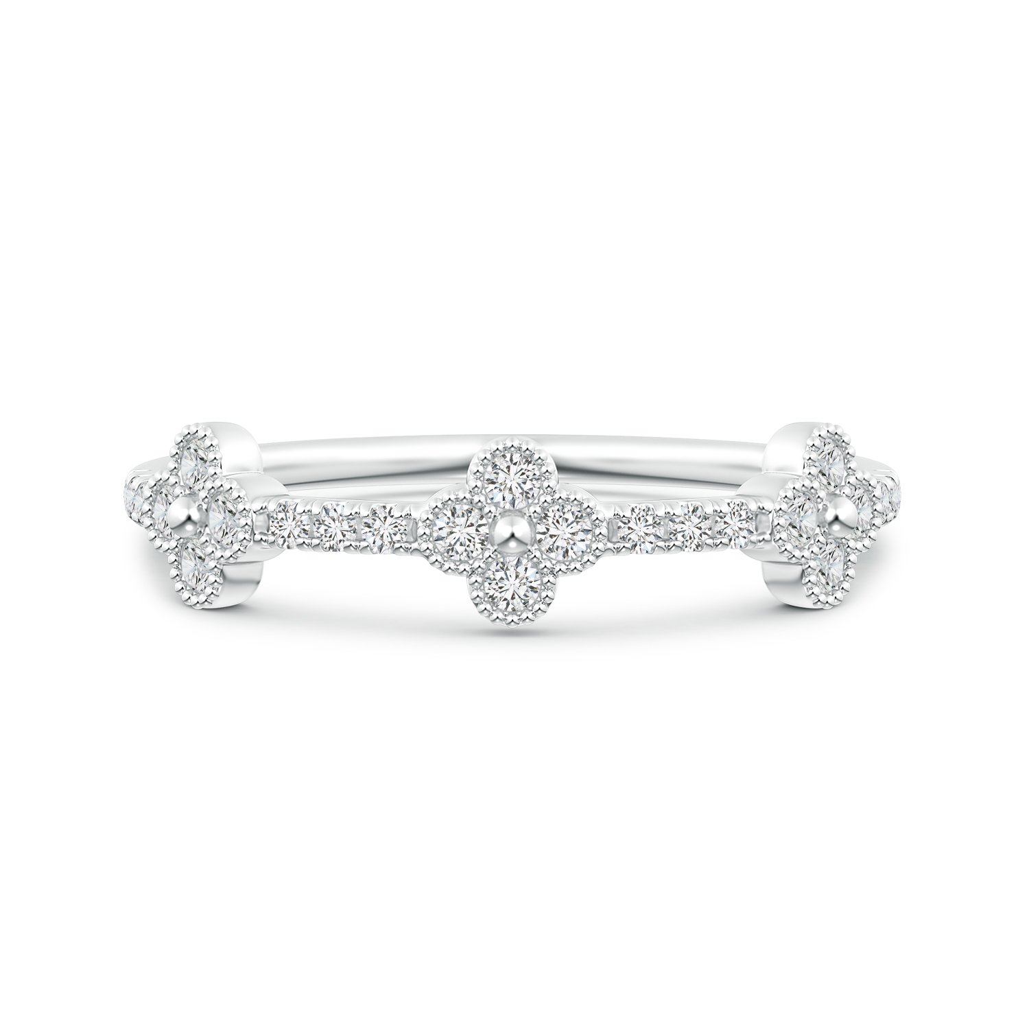 Amazon Lab Grown Diamond Clover Link Wedding Band With Milgrain In 14k Gold Jewelry: Link Diamond Wedding Band At Reisefeber.org