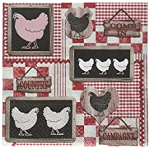 Abbott Collection Home Luncheon Chicken in The Kitchen Napkins-20 Pack Red