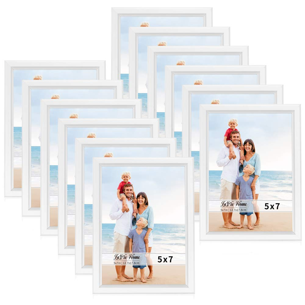 LaVie Home 5x7 Picture Frames (12 Pack, White) Simple Designed Photo Frame with High Definition Glass for Wall Mount & Table Top Display, Set of 12 Classic Collection by LaVie Home