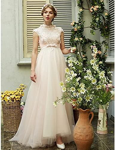 kekafu A-Line High Neck Sweep/Pinsel Zug Tüll Hochzeit Kleid mit Perlen von Huaxirenjiao