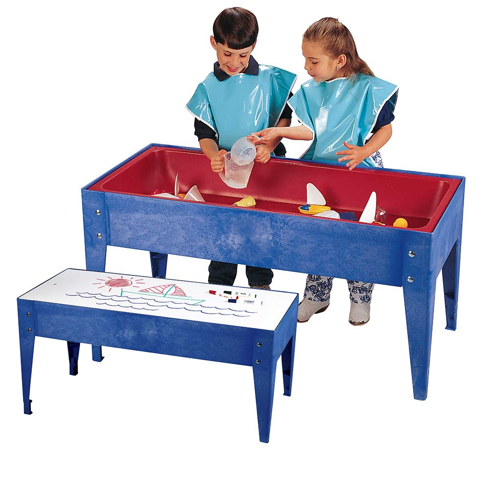 Constructive Playthings MAA-02 Toddler Indoor/Outdoor 46'' W. x 21'' D. x 18'' H. Sand & Water Table with 6'' D. Tub and Dry-Erase Write-On/Wipe-Off Top for Ages 18 Months to 3 Years