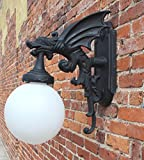 Outdoor Wall Light Sconce Fixture antique styl GARGOYLE DRAGON wings vintage For Sale