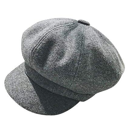 6fb507f9ce16e2 Amazon.com: 🍀LIULIULIU🍀Vintage British Style Solid Casual Flat Beret  Octagonal Cap Hairy Beret Hat Crochet Newsboy Ivy Hat (C): Garden & Outdoor