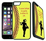 iphone 6 protective case softball - [TeleSkins] - Softball Quote - iPhone 6 Plus / 6S Plus Case - Ultra Durable Slim Fit, Protective Plastic with Soft RUBBER TPU Snap On Back Case / Cover for Girls. [Fits iPhone 6 Plus & 6S Plus only]