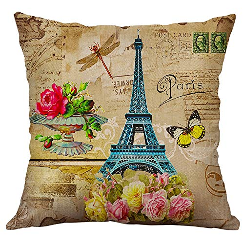 Weiliru Cotton Linen Throw Pillow Cases, Fashion Print Square Pillowcase Cushion Covers 18
