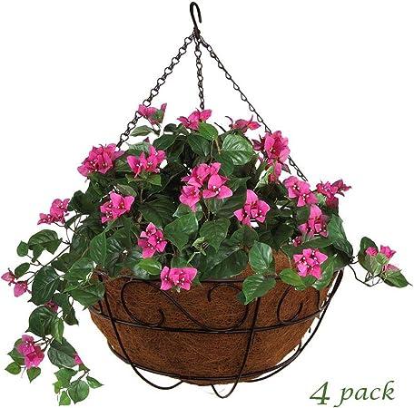 Hanging Garden Flower Basket Plant Baskets Plants Bracket Mounted Pot Container
