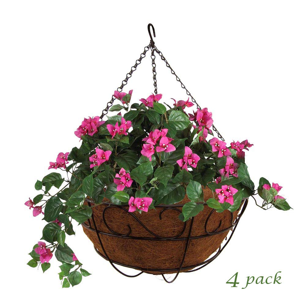 MTB Garden Hanging Baskets 16'' S Style with Coco-Liner, Pack of 4,Hanging Planter Plant Hanger Hanging Flower Basket Chain Basket and Plant Growers for Home Balcony Patio Decoration