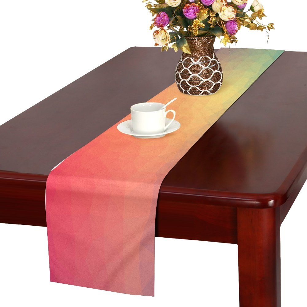 Color Triangle Geometric Textured Shape Abstract Table Runner, Kitchen Dining Table Runner 16 X 72 Inch For Dinner Parties, Events, Decor