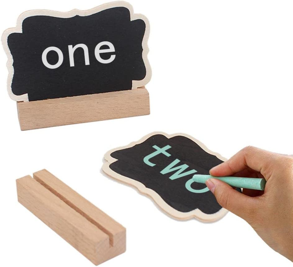 D DOLITY 10pcs Kleine Mini Holztafel Memotafel Namen Preis Memo Board Tafel