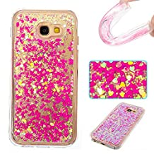 Galaxy A5 (2017) Case,Gift_Source Fashion Creative Bling Glitter Sparkle Liquid Quicksand Flowing Floating Case Rubber TPU Gel Cover Soft Bumper Cases For Samsung Galaxy A5 2017 [Pink Heart]