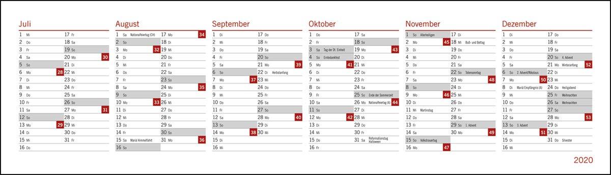 Wochenkalendarium Tischkalender 2020 Format 32,5 x 9,3 cm Spiralbindung blau Wochenquerplaner