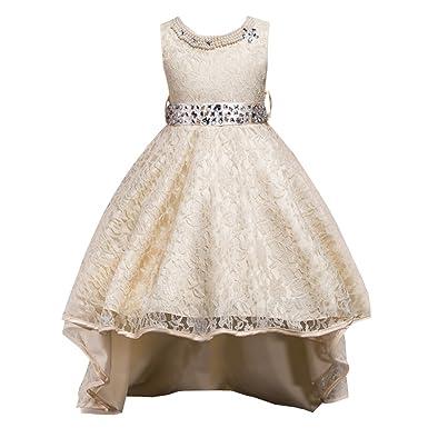 1 7 Anni Ragazze Bambino Vestito Bambina Abiti da Damigella d'Onore del Pizzo Principessa del Pannello Esterno dei Vestiti per i Neonati Bambini