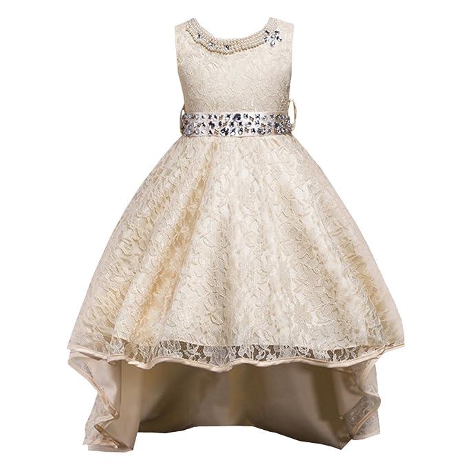 7d8ea4ad0a32 LSERVER-Abito in Pizzo con Coda Ragazza con Diamanti Bambine Vestito  Principessa Abiti da Sera