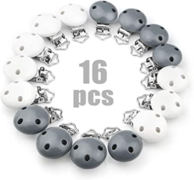 Image ofRUBY - 16 Pinzas clip madera para chupete, pinza chupete madera con 3 agujeros (Blanco Gris, 16 PCS)