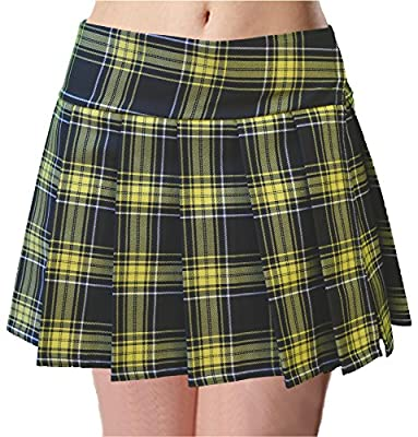 Plus Size Black and Lemon Yellow Schoolgirl Tartan Plaid Pleated Mini Skirt Semaphore