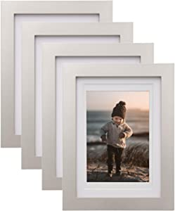 KINLINK 5x7 Picture Frames Silver-Wood Frames with HD Plexiglass for Pictures 4x6 with Mat or 5x7 without Mat,Tabletop and Wall Mounting Display, Set of 4