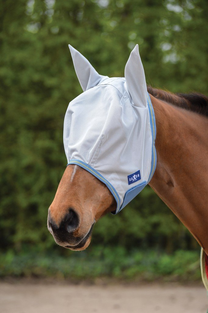 Saxon Mesh Fly Mask Full Gray/Blue/Gold
