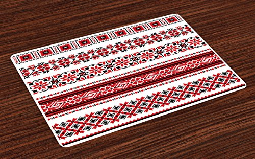 (Ambesonne Red Place Mats Set of 4, Ukrainian Needlework Illustration Ethnic Traditional Accents Arts and Crafts Theme, Washable Fabric Placemats for Dining Room Kitchen Table Decor, Red Black White )