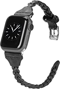 Wearlizer Compatible with Apple Watch Band 42mm iWatch Bands 44mm Plait Style Slim Leather Replacement Wrist Band for Apple Watch SE Series 6 5 4 3 2 1 - Black