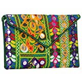 Multi-Color with Green Inner Women Banjara Evening Clutch Bag Mirror work 100% Cotton Size 9 x 6 Inches