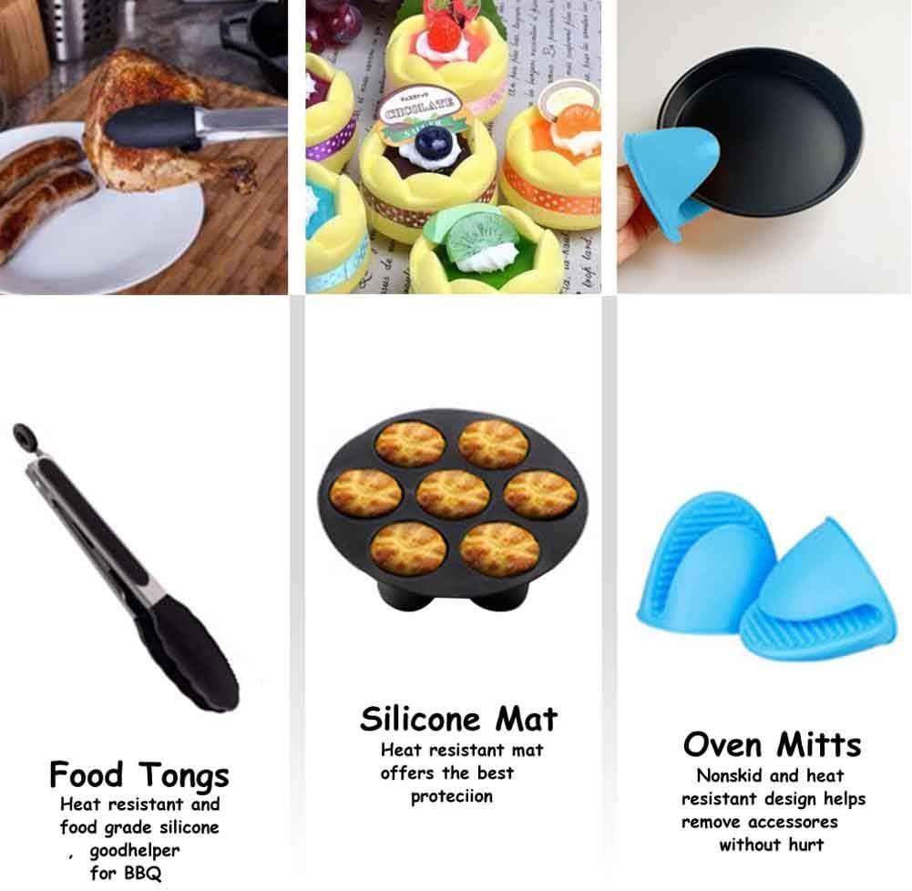 12 accessori Air Fryer da 7 pollici, accessori per torte, 3.2-7.2QT, antiaderenti, accessori per griglia Air Fryer, Not null, Nero , Taglia unica Nero