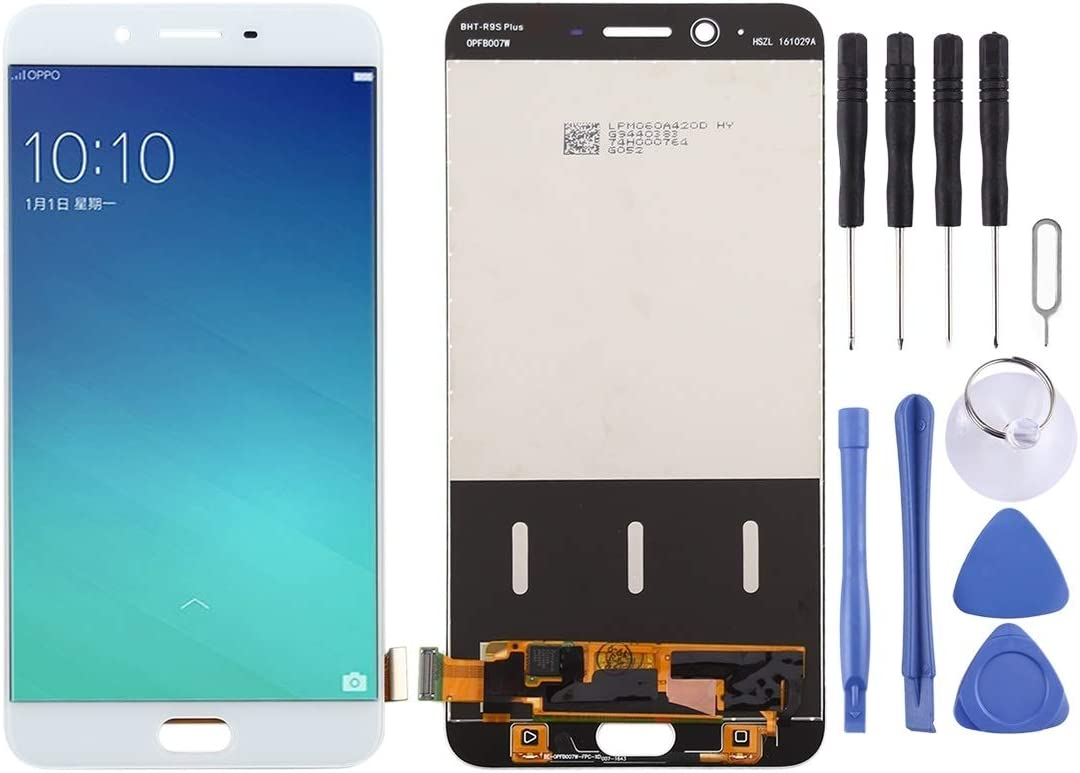 Durable CAOMING LCD Screen and Digitizer Full Assembly for Oppo R9 Plus White Color : White