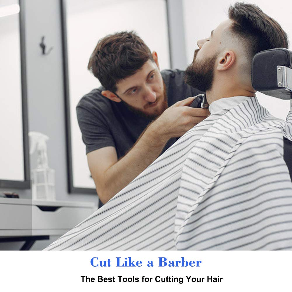 "Bircen Professional Barber Cape for Men Protector Haircut Cloth Apron Neck Duster Brush and Carbon Comb Salon Barber Supplies 3pcs, 55""x63"" : Beauty"