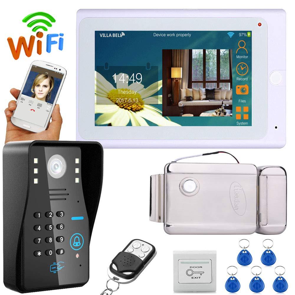 QZH WiFi-Gegensprechanlage LCD-Türklingel, 7-Zoll-Video-Türklingel-Kit, Nachtsichtgerät mit elektronischer Türverriegelung, ID-Karte Passwort   Freischaltung
